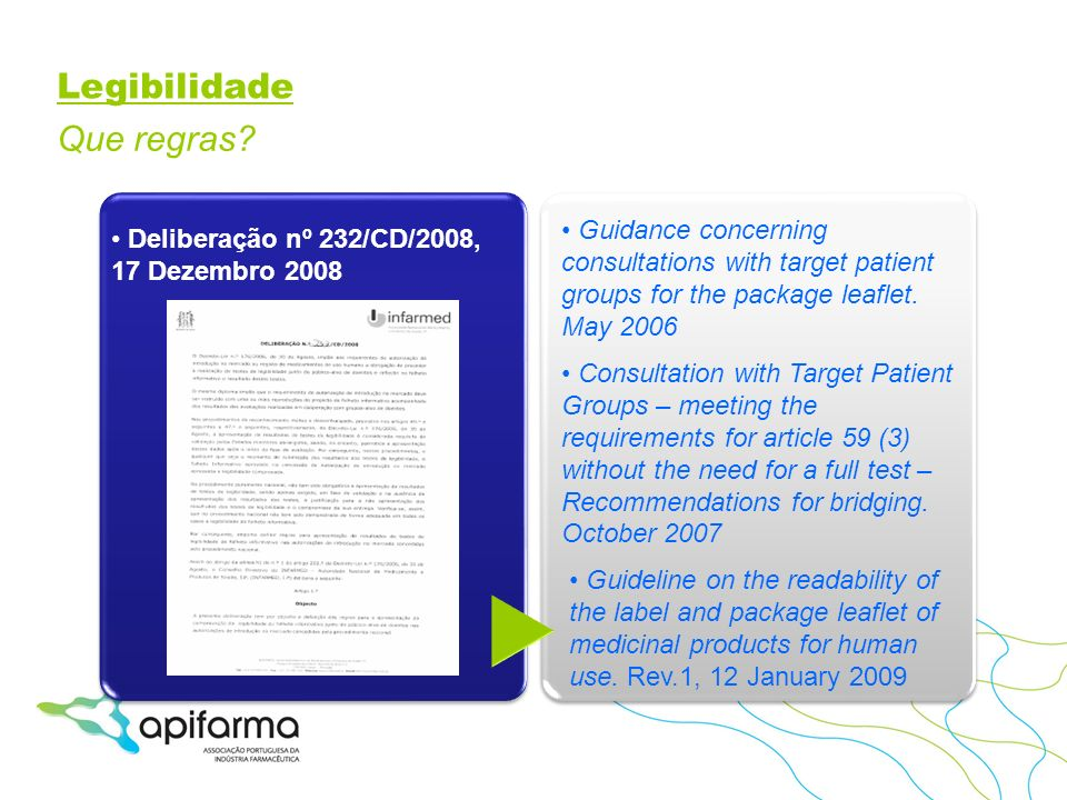 Legibilidade Que regras? Guideline on the readability of the label and package leaflet of medicinal products for human use. Rev.1, 12 January 2009 Gui