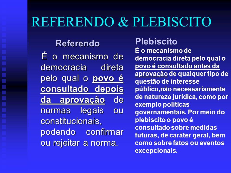 REFERENDO & PLEBISCITO Referendo É o mecanismo de democracia direta pelo qual o povo é consultado depois da aprovação de normas legais ou constitucionais, podendo confirmar ou rejeitar a norma.
