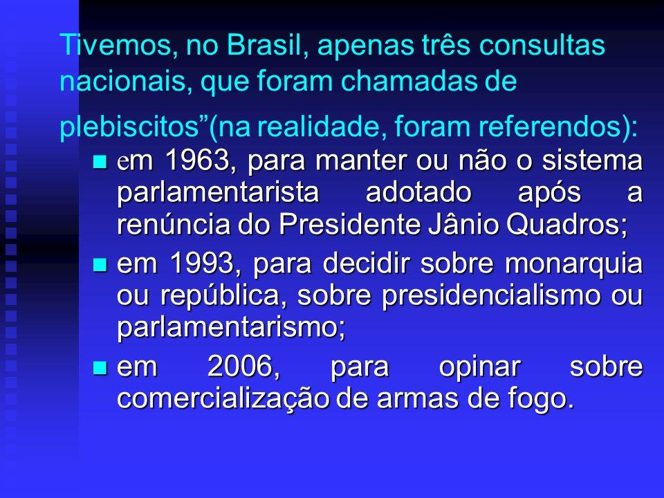 Tivemos, no Brasil, apenas três consultas nacionais, que foram chamadas de plebiscitos(na realidade, foram referendos): e m 1963, para manter ou não o sistema parlamentarista adotado após a renúncia do Presidente Jânio Quadros; e m 1963, para manter ou não o sistema parlamentarista adotado após a renúncia do Presidente Jânio Quadros; em 1993, para decidir sobre monarquia ou república, sobre presidencialismo ou parlamentarismo; em 1993, para decidir sobre monarquia ou república, sobre presidencialismo ou parlamentarismo; em 2006, para opinar sobre comercialização de armas de fogo.