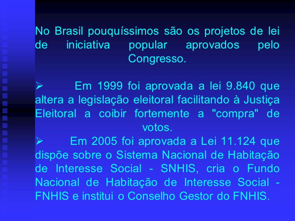 No Brasil pouquíssimos são os projetos de lei de iniciativa popular aprovados pelo Congresso.