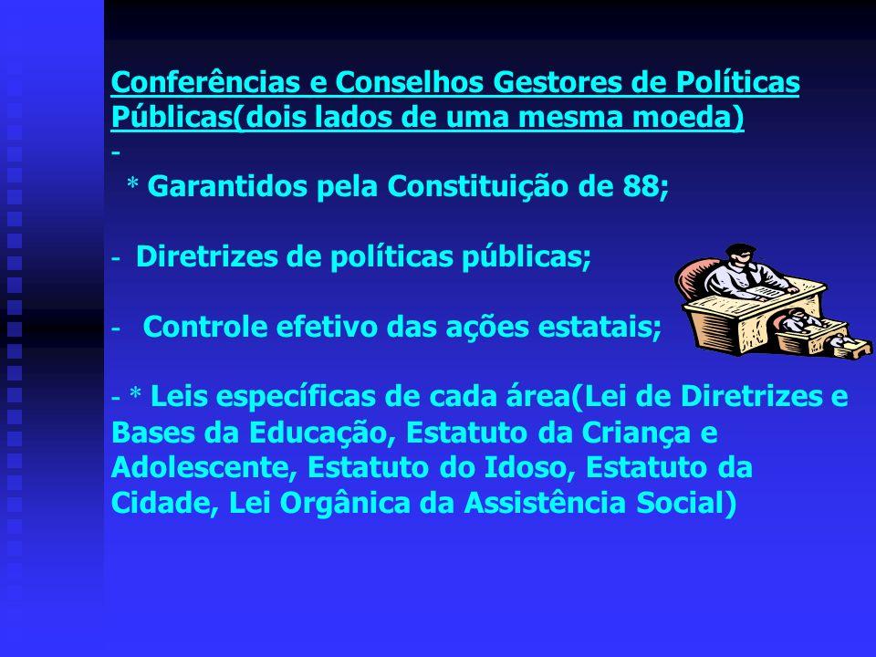 Conferências e Conselhos Gestores de Políticas Públicas(dois lados de uma mesma moeda) - * Garantidos pela Constituição de 88; - Diretrizes de políticas públicas; - Controle efetivo das ações estatais; - * Leis específicas de cada área(Lei de Diretrizes e Bases da Educação, Estatuto da Criança e Adolescente, Estatuto do Idoso, Estatuto da Cidade, Lei Orgânica da Assistência Social)