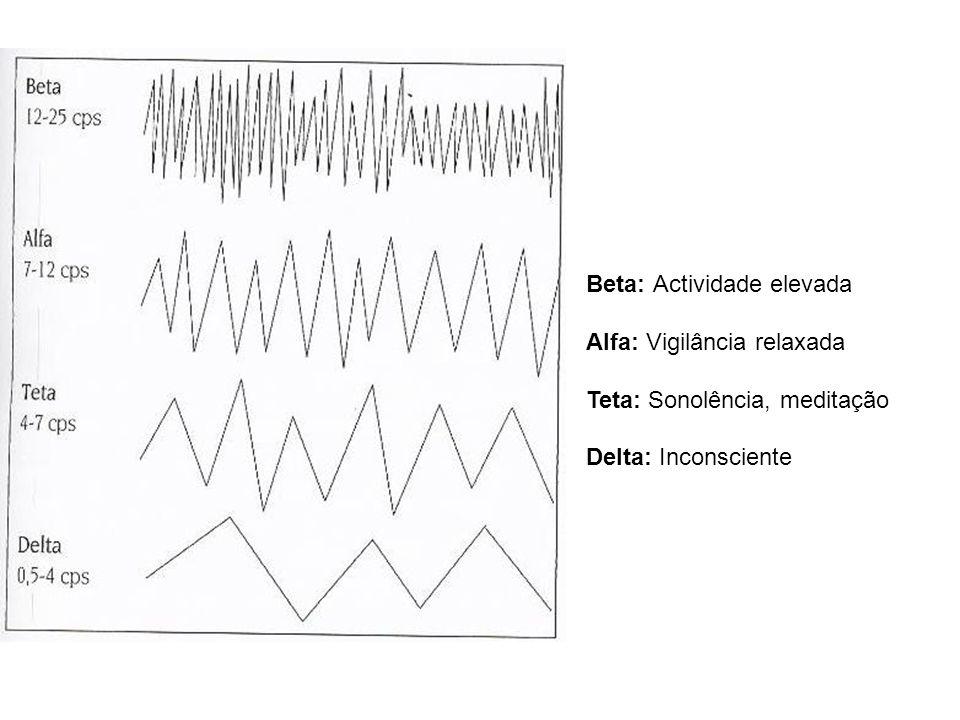 Beta: Actividade elevada Alfa: Vigilância relaxada Teta: Sonolência, meditação Delta: Inconsciente