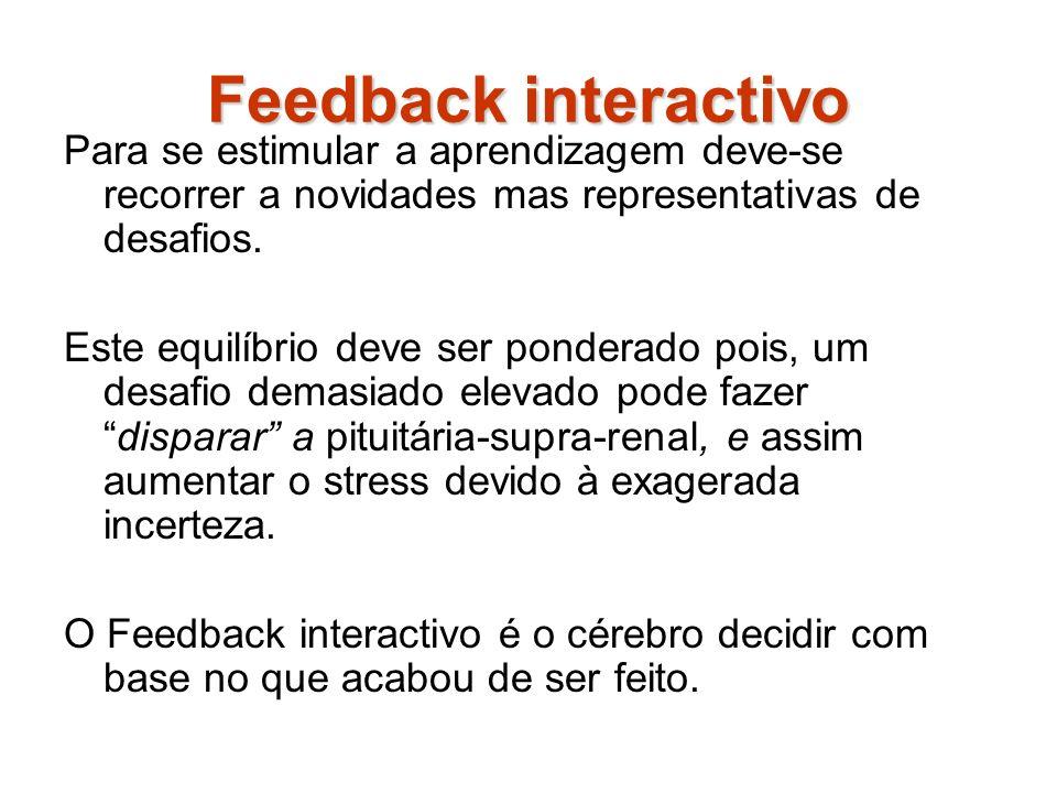 Feedback interactivo Para se estimular a aprendizagem deve-se recorrer a novidades mas representativas de desafios.