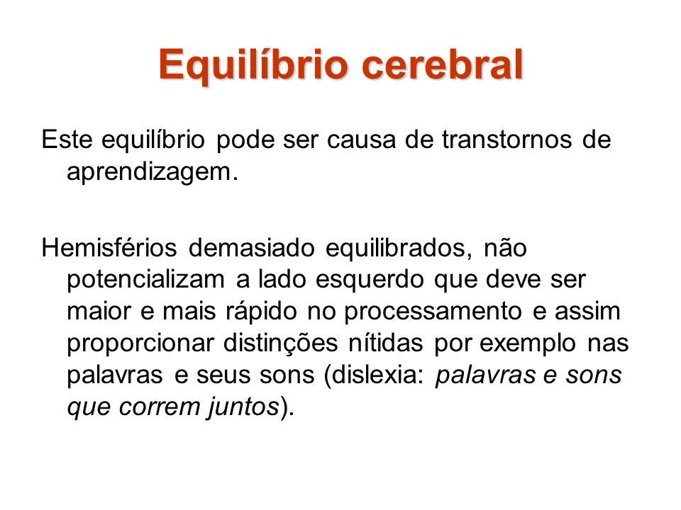 Equilíbrio cerebral Este equilíbrio pode ser causa de transtornos de aprendizagem.