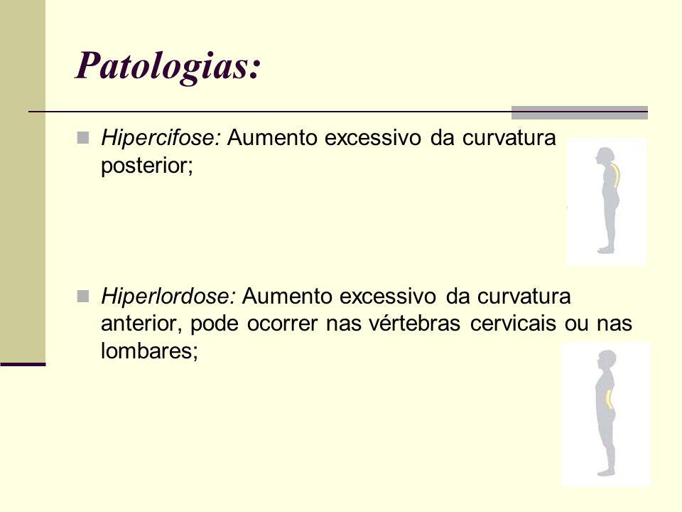 Patologias: Hipercifose: Aumento excessivo da curvatura posterior; Hiperlordose: Aumento excessivo da curvatura anterior, pode ocorrer nas vértebras c