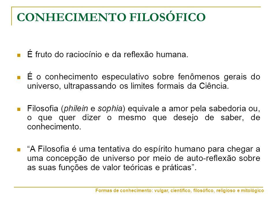 CONHECIMENTO FILOSÓFICO É fruto do raciocínio e da reflexão humana. É o conhecimento especulativo sobre fenômenos gerais do universo, ultrapassando os
