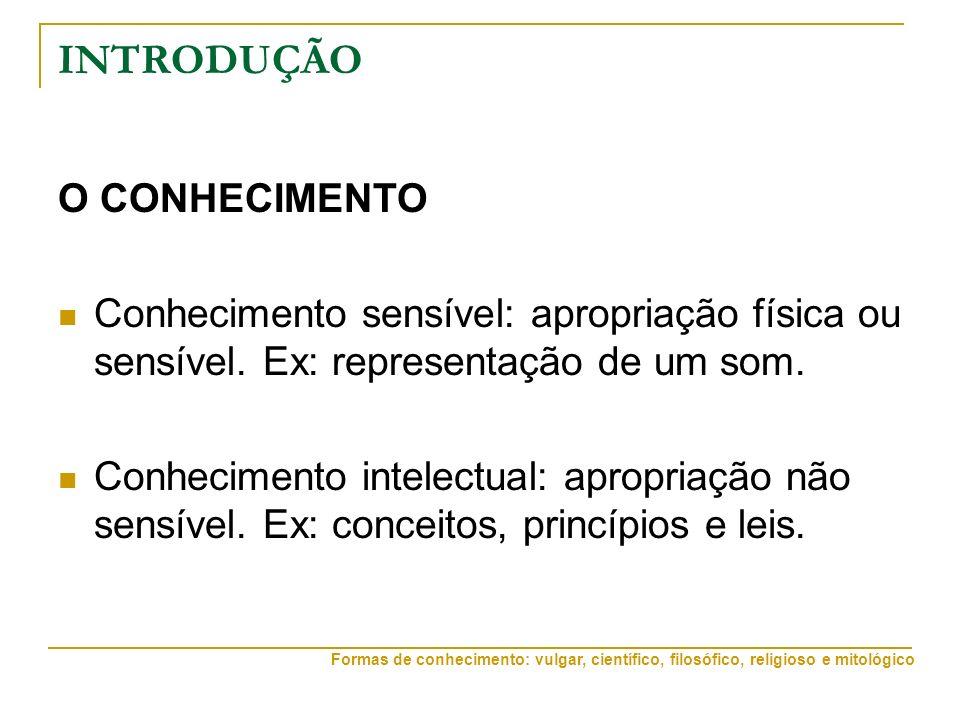 INTRODUÇÃO O CONHECIMENTO Conhecimento sensível: apropriação física ou sensível. Ex: representação de um som. Conhecimento intelectual: apropriação nã