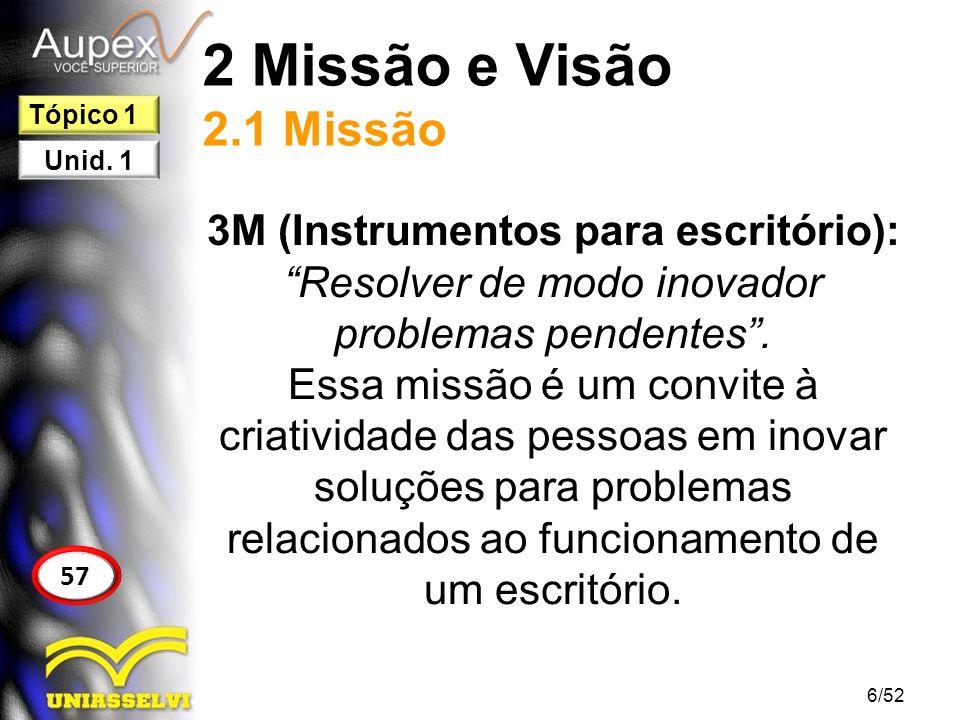 2 Missão e Visão 2.1 Missão 3M (Instrumentos para escritório): Resolver de modo inovador problemas pendentes. Essa missão é um convite à criatividade