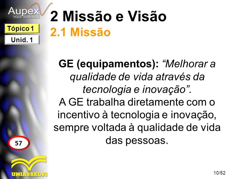 2 Missão e Visão 2.1 Missão GE (equipamentos): Melhorar a qualidade de vida através da tecnologia e inovação. A GE trabalha diretamente com o incentiv