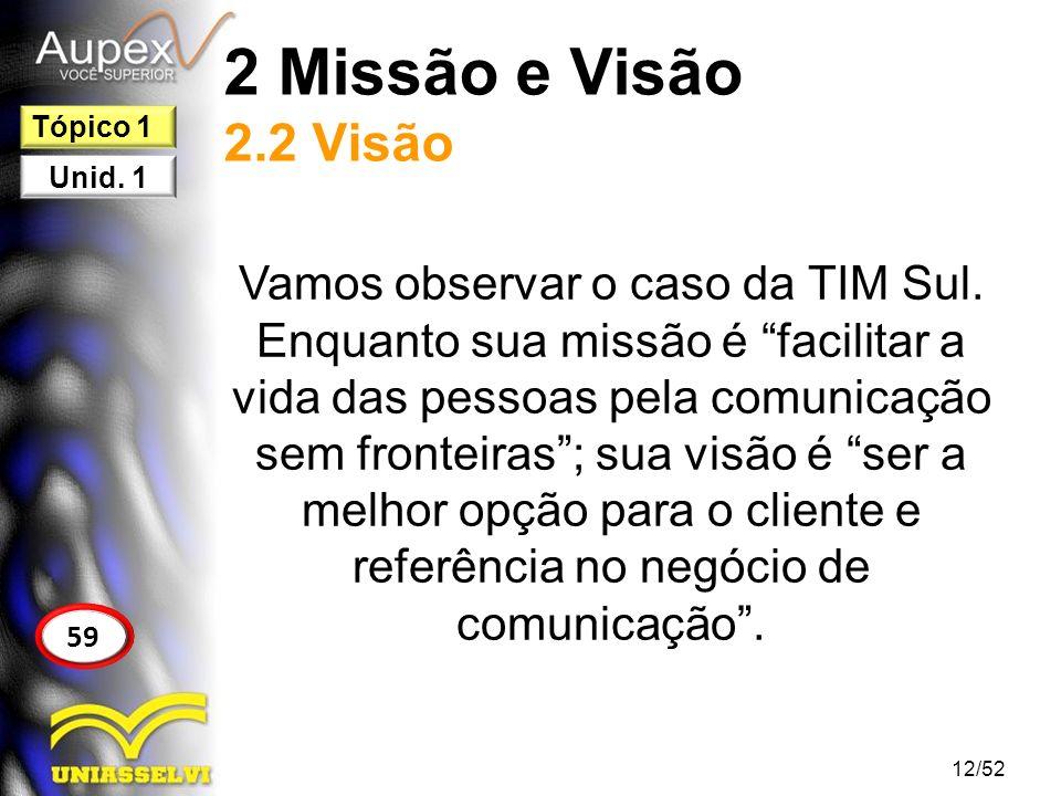 2 Missão e Visão 2.2 Visão Vamos observar o caso da TIM Sul. Enquanto sua missão é facilitar a vida das pessoas pela comunicação sem fronteiras; sua v