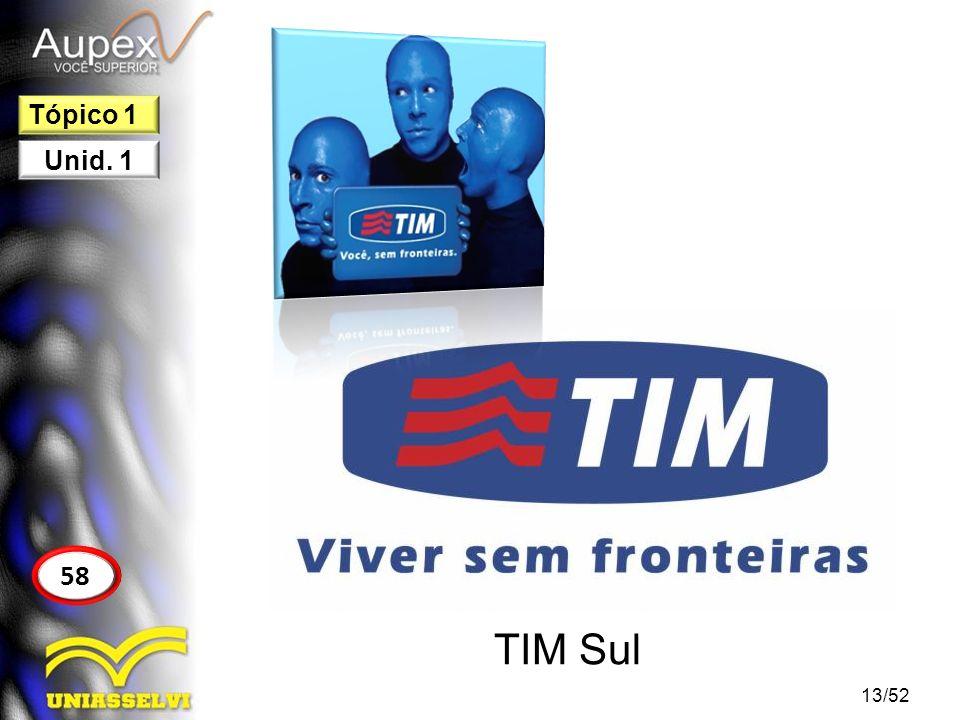 TIM Sul 13/52 58 Tópico 1 Unid. 1