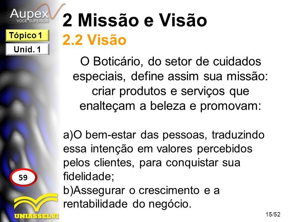 2 Missão e Visão 2.2 Visão O Boticário, do setor de cuidados especiais, define assim sua missão: criar produtos e serviços que enalteçam a beleza e pr