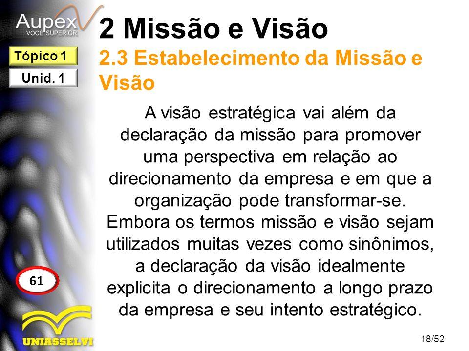 2 Missão e Visão 2.3 Estabelecimento da Missão e Visão A visão estratégica vai além da declaração da missão para promover uma perspectiva em relação a