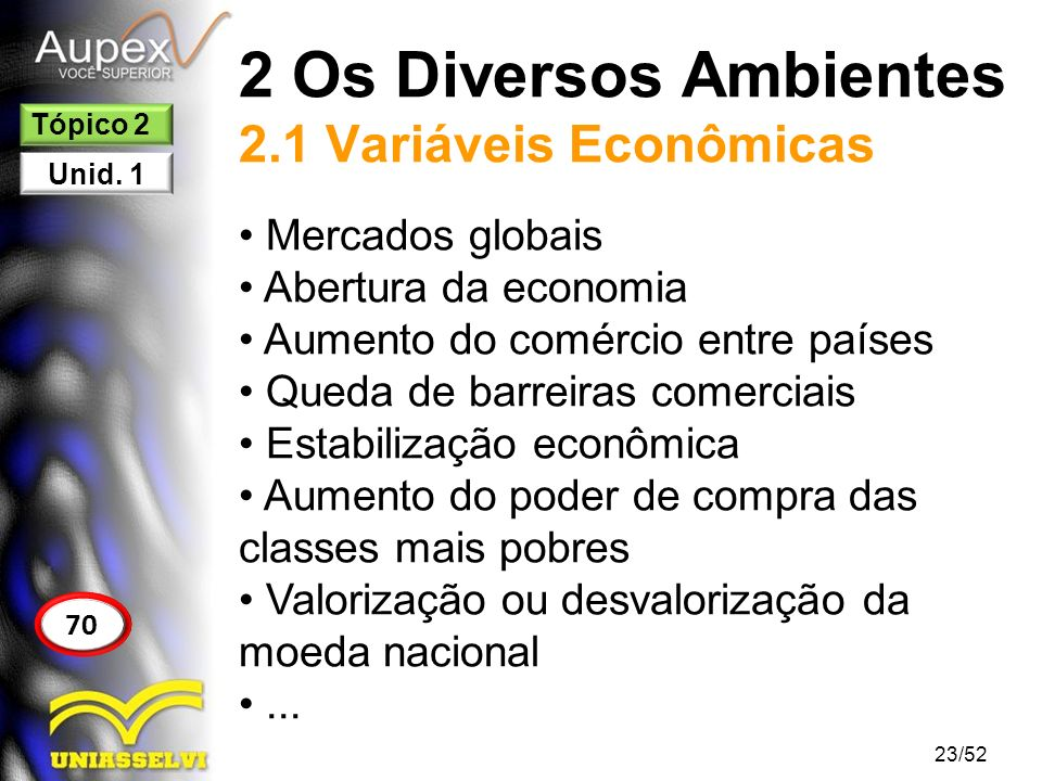 2 Os Diversos Ambientes 2.1 Variáveis Econômicas Mercados globais Abertura da economia Aumento do comércio entre países Queda de barreiras comerciais