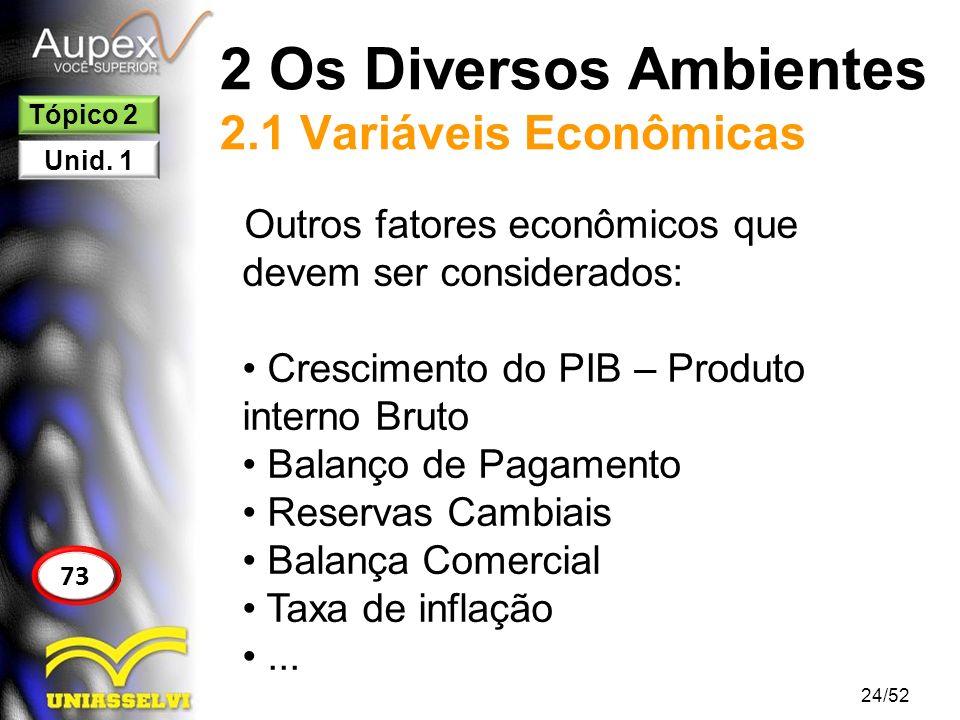 2 Os Diversos Ambientes 2.1 Variáveis Econômicas Outros fatores econômicos que devem ser considerados: Crescimento do PIB – Produto interno Bruto Bala