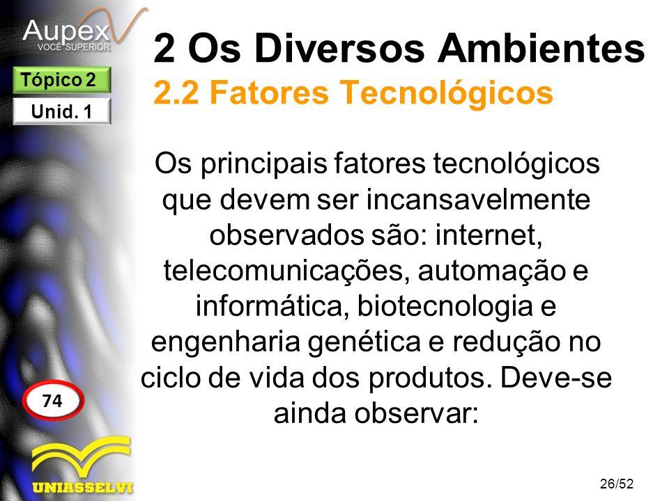 2 Os Diversos Ambientes 2.2 Fatores Tecnológicos Os principais fatores tecnológicos que devem ser incansavelmente observados são: internet, telecomuni