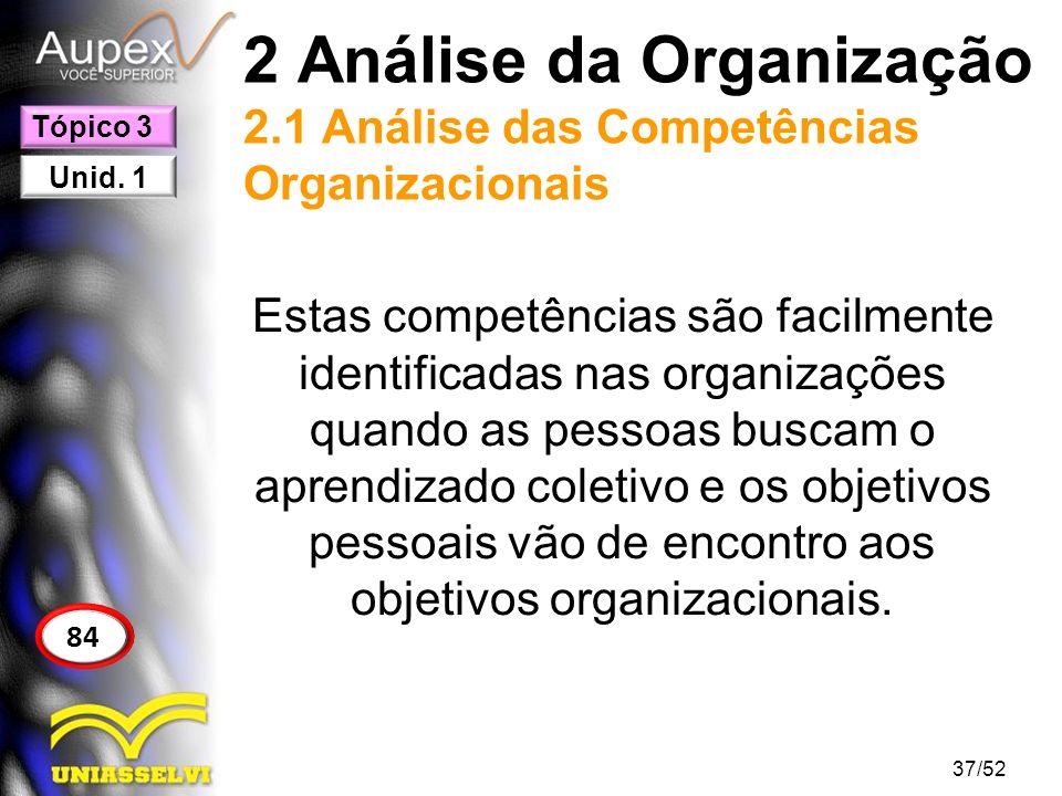 2 Análise da Organização 2.1 Análise das Competências Organizacionais Estas competências são facilmente identificadas nas organizações quando as pesso