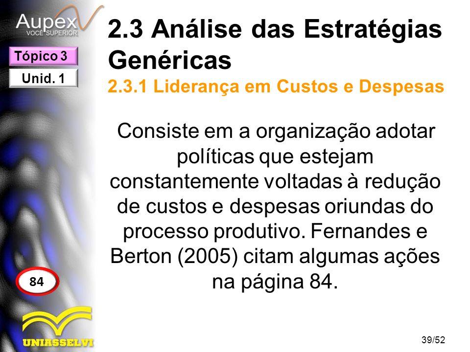 2.3 Análise das Estratégias Genéricas 2.3.1 Liderança em Custos e Despesas Consiste em a organização adotar políticas que estejam constantemente volta