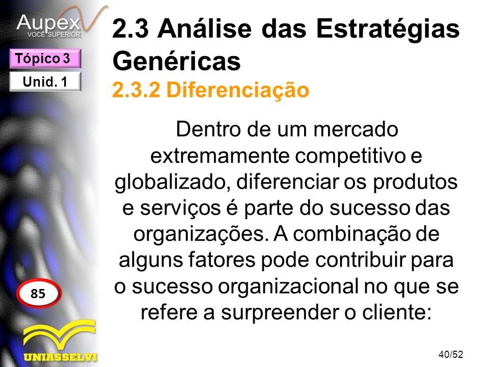 2.3 Análise das Estratégias Genéricas 2.3.2 Diferenciação Dentro de um mercado extremamente competitivo e globalizado, diferenciar os produtos e servi