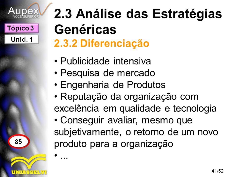2.3 Análise das Estratégias Genéricas 2.3.2 Diferenciação Publicidade intensiva Pesquisa de mercado Engenharia de Produtos Reputação da organização co