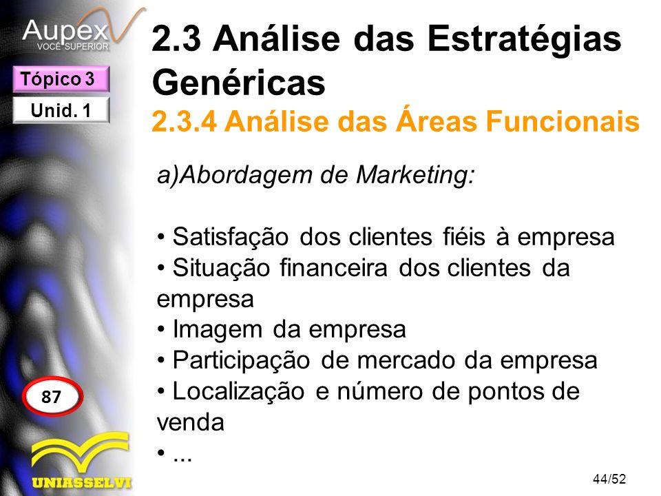 2.3 Análise das Estratégias Genéricas 2.3.4 Análise das Áreas Funcionais a)Abordagem de Marketing: Satisfação dos clientes fiéis à empresa Situação fi