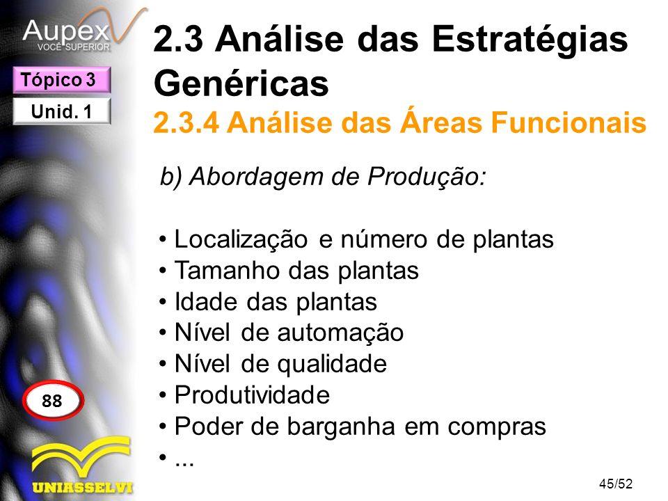 2.3 Análise das Estratégias Genéricas 2.3.4 Análise das Áreas Funcionais b) Abordagem de Produção: Localização e número de plantas Tamanho das plantas