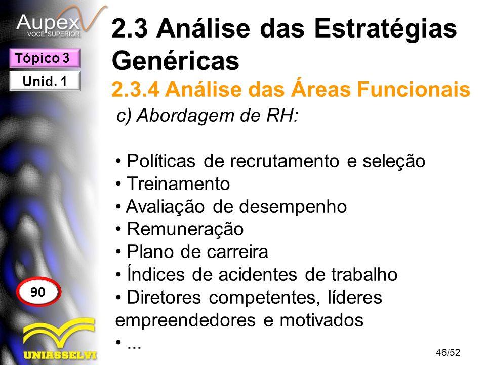 2.3 Análise das Estratégias Genéricas 2.3.4 Análise das Áreas Funcionais c) Abordagem de RH: Políticas de recrutamento e seleção Treinamento Avaliação