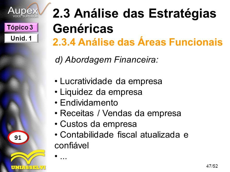2.3 Análise das Estratégias Genéricas 2.3.4 Análise das Áreas Funcionais d) Abordagem Financeira: Lucratividade da empresa Liquidez da empresa Endivid