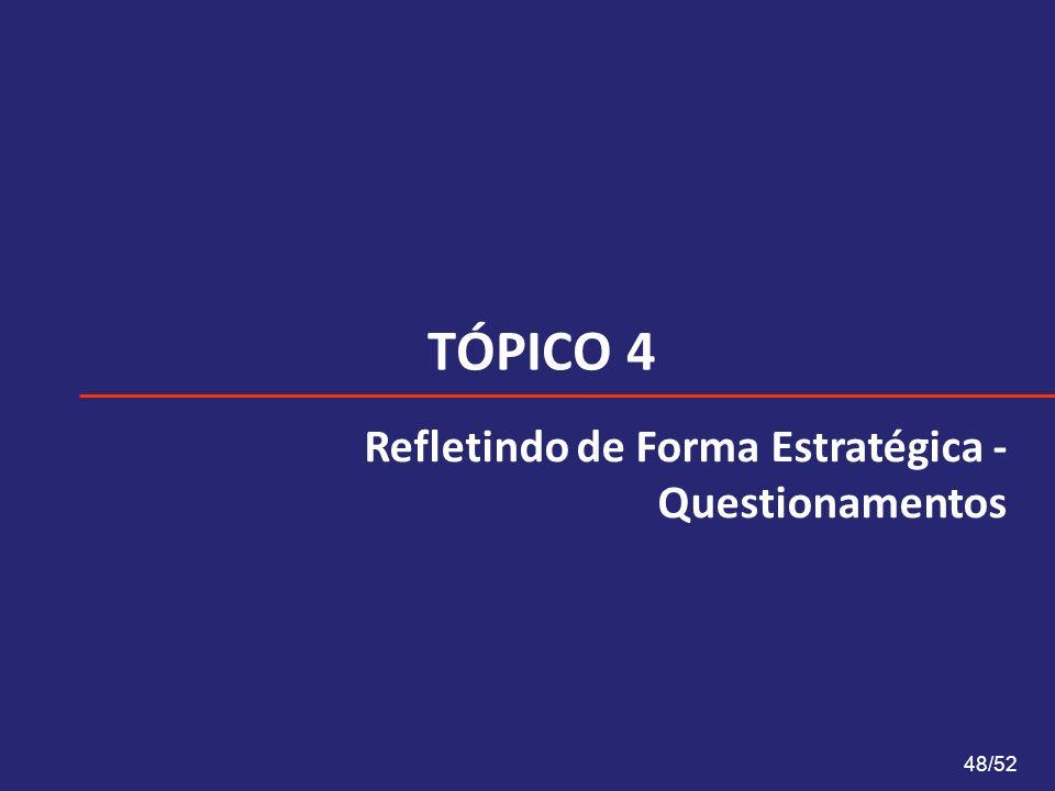 TÓPICO 4 48/52 Refletindo de Forma Estratégica - Questionamentos