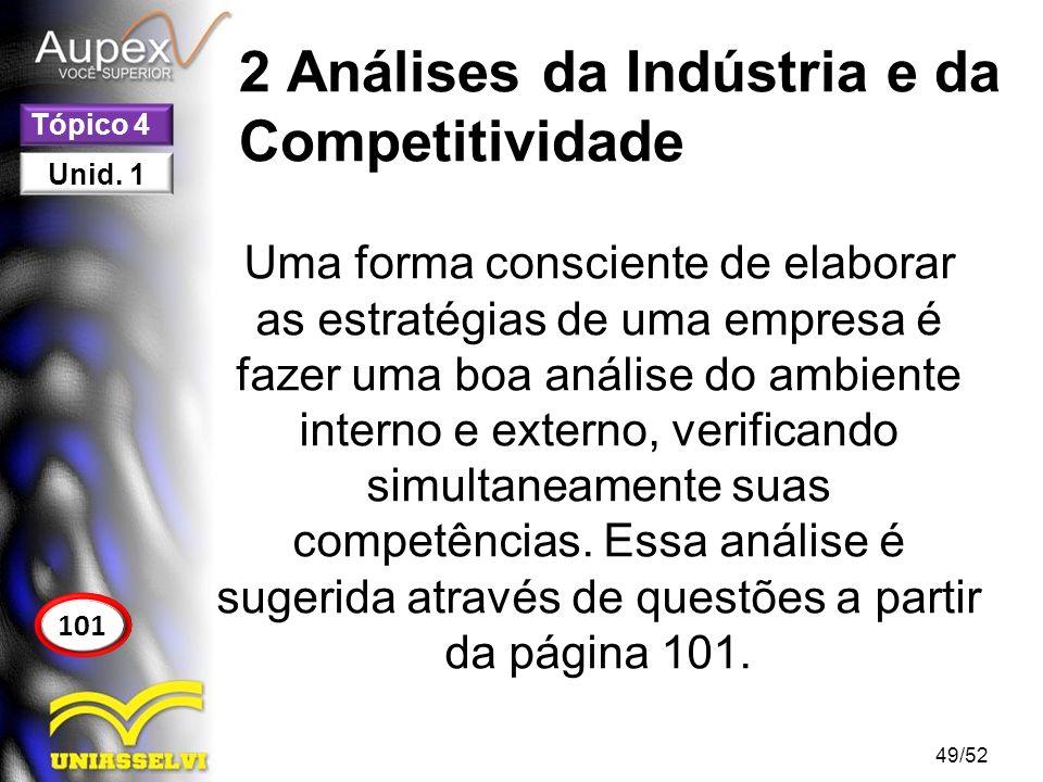 2 Análises da Indústria e da Competitividade Uma forma consciente de elaborar as estratégias de uma empresa é fazer uma boa análise do ambiente intern