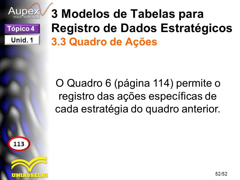 3 Modelos de Tabelas para Registro de Dados Estratégicos 3.3 Quadro de Ações O Quadro 6 (página 114) permite o registro das ações específicas de cada