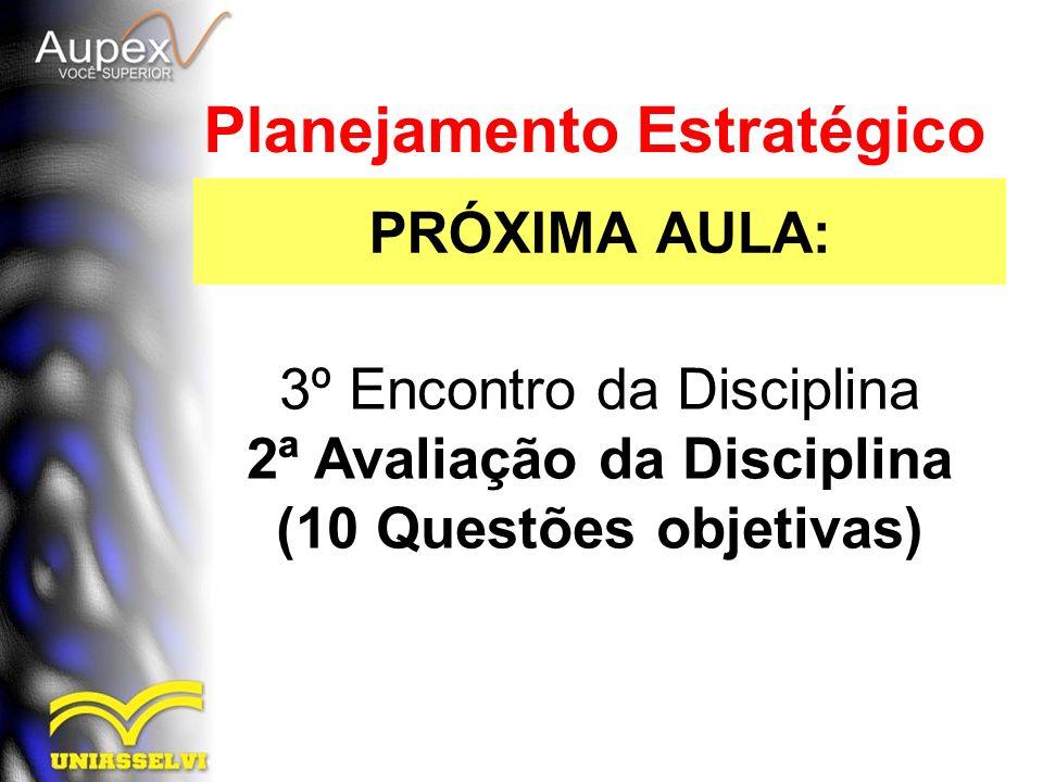 PRÓXIMA AULA: Planejamento Estratégico 3º Encontro da Disciplina 2ª Avaliação da Disciplina (10 Questões objetivas)