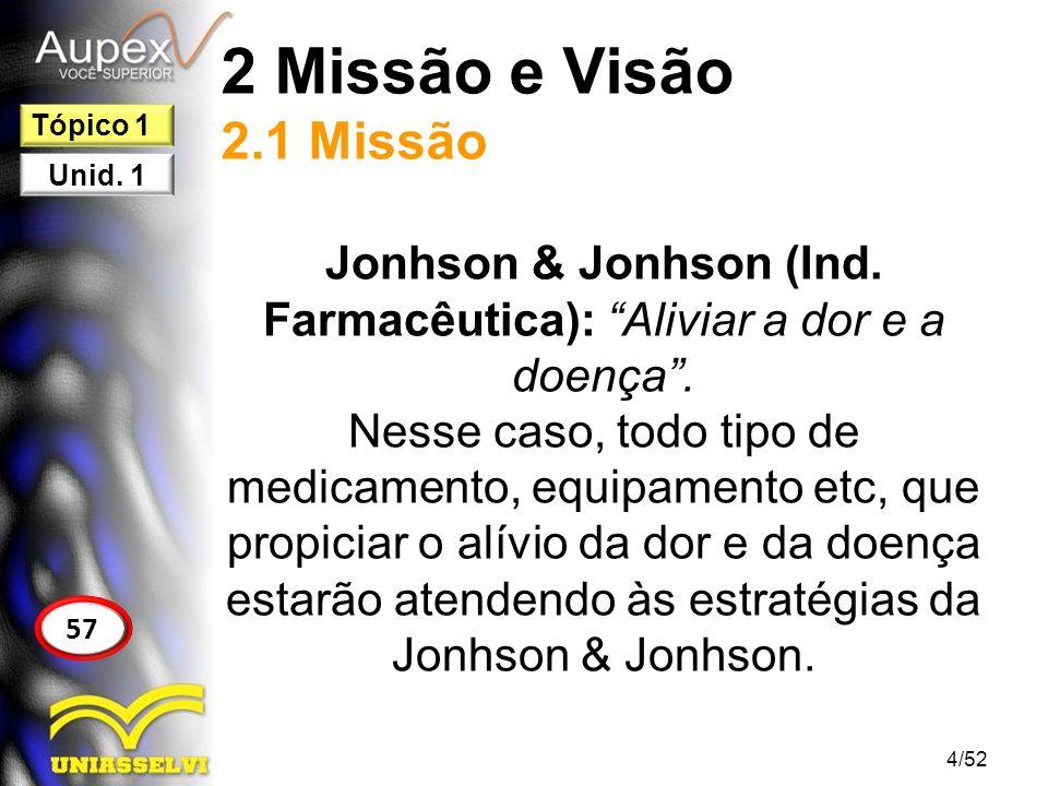 2 Missão e Visão 2.1 Missão Jonhson & Jonhson (Ind. Farmacêutica): Aliviar a dor e a doença. Nesse caso, todo tipo de medicamento, equipamento etc, qu