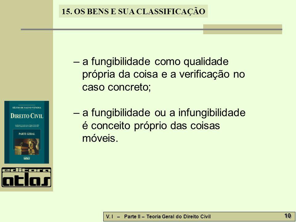15. OS BENS E SUA CLASSIFICAÇÃO V. I – Parte II – Teoria Geral do Direito Civil 10 – a fungibilidade como qualidade própria da coisa e a verificação n