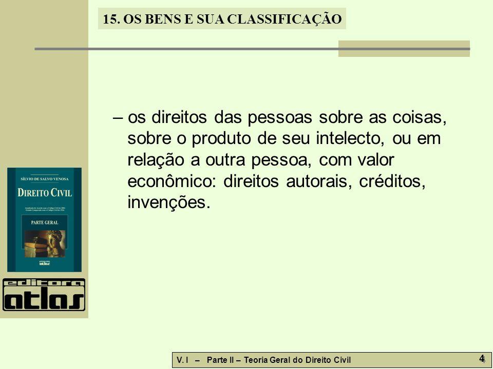 15.OS BENS E SUA CLASSIFICAÇÃO V. I – Parte II – Teoria Geral do Direito Civil 25 15.10.