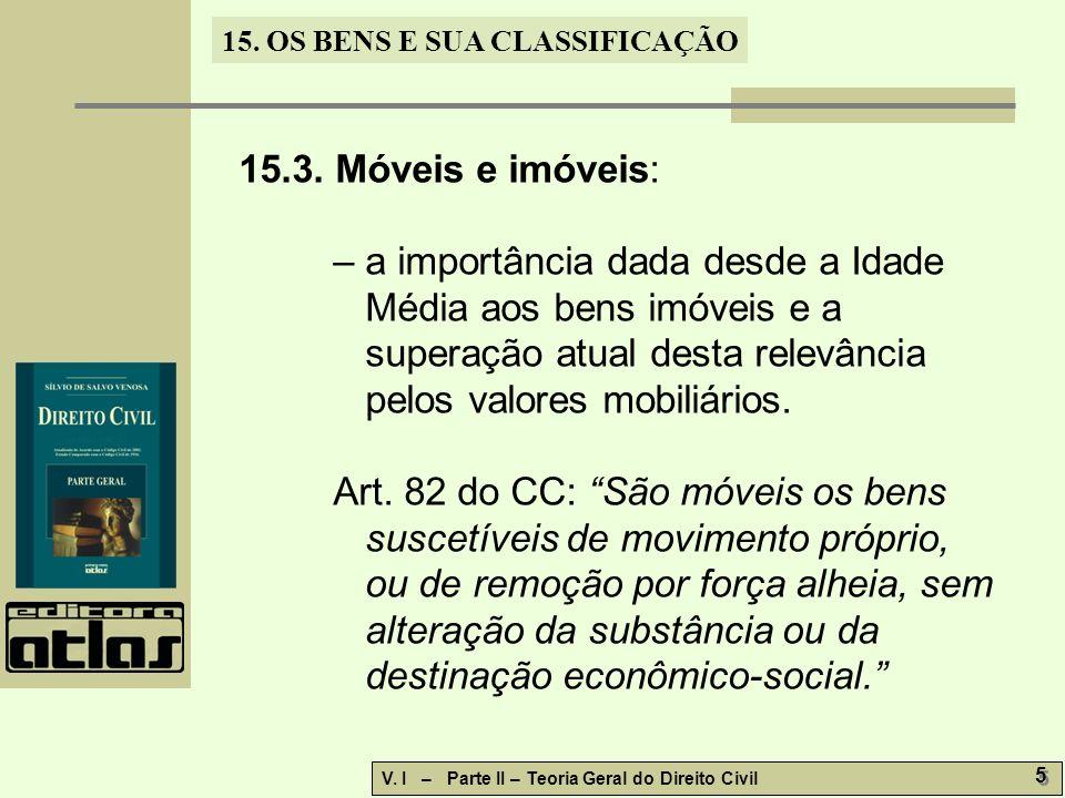 15.OS BENS E SUA CLASSIFICAÇÃO V. I – Parte II – Teoria Geral do Direito Civil 6 6 15.3.1.