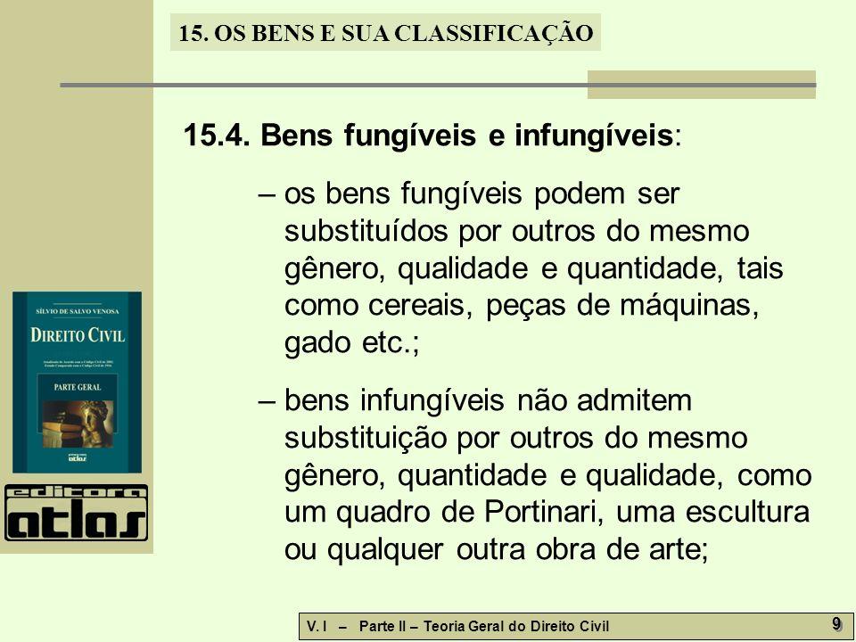 15. OS BENS E SUA CLASSIFICAÇÃO V. I – Parte II – Teoria Geral do Direito Civil 9 9 15.4. Bens fungíveis e infungíveis: – os bens fungíveis podem ser