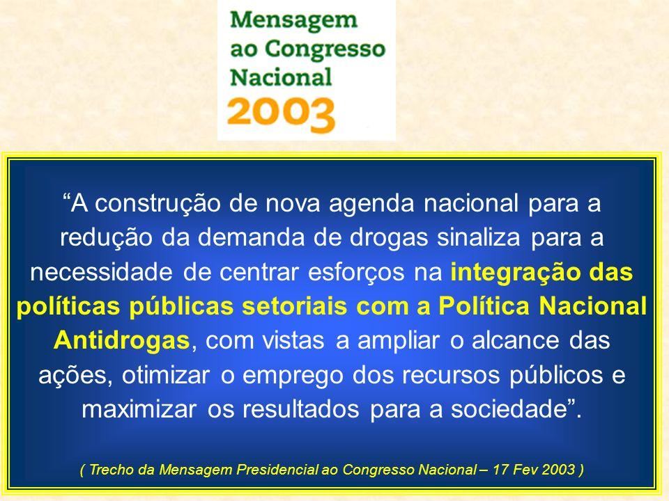 A construção de nova agenda nacional para a redução da demanda de drogas sinaliza para a necessidade de centrar esforços na integração das políticas p