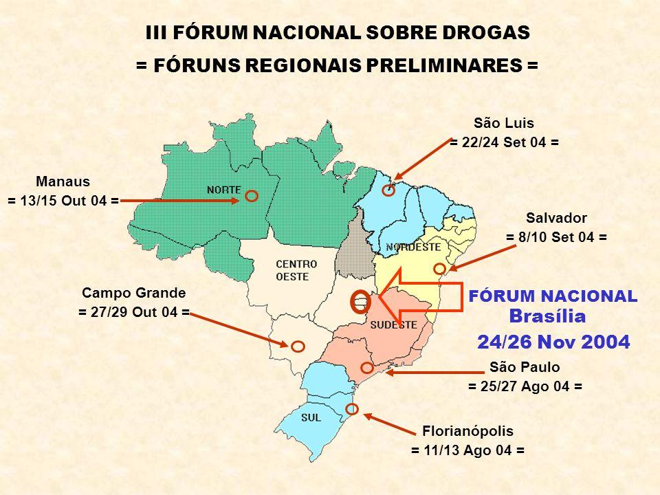 III FÓRUM NACIONAL SOBRE DROGAS = FÓRUNS REGIONAIS PRELIMINARES = Florianópolis = 11/13 Ago 04 = São Paulo = 25/27 Ago 04 = Salvador = 8/10 Set 04 = S