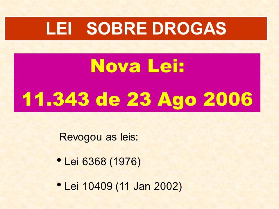 LEI SOBRE DROGAS Revogou as leis: Lei 6368 (1976) Lei 10409 (11 Jan 2002) Nova Lei: 11.343 de 23 Ago 2006