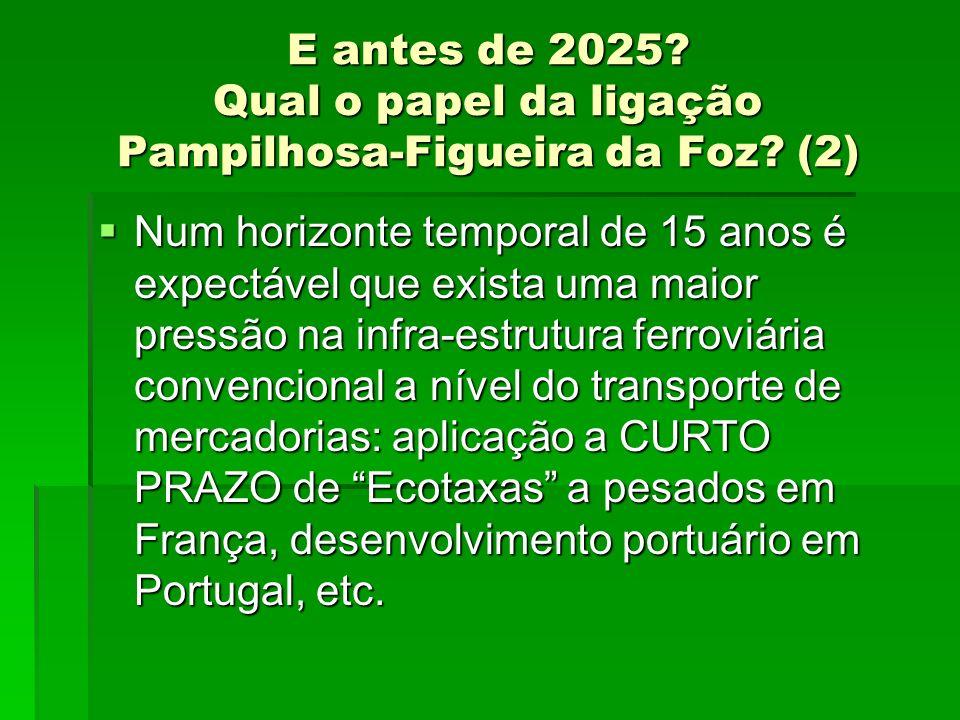 E antes de 2025? Qual o papel da ligação Pampilhosa-Figueira da Foz? (2) Num horizonte temporal de 15 anos é expectável que exista uma maior pressão n