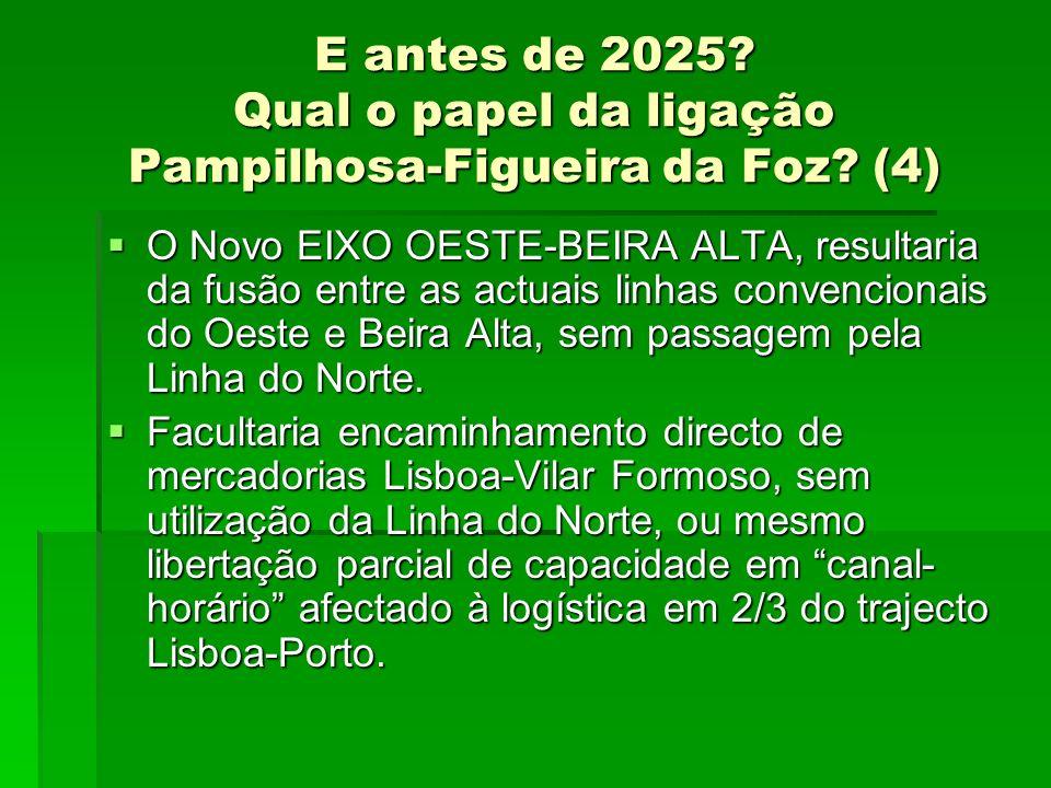 E antes de 2025? Qual o papel da ligação Pampilhosa-Figueira da Foz? (4) O Novo EIXO OESTE-BEIRA ALTA, resultaria da fusão entre as actuais linhas con