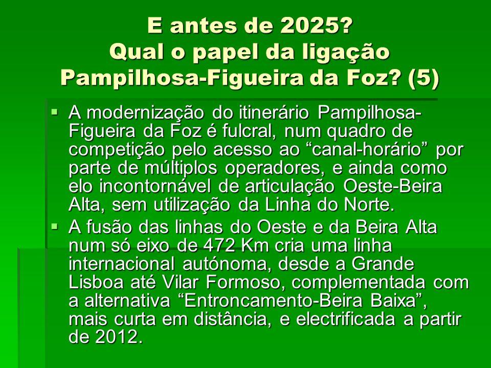 E antes de 2025? Qual o papel da ligação Pampilhosa-Figueira da Foz? (5) A modernização do itinerário Pampilhosa- Figueira da Foz é fulcral, num quadr