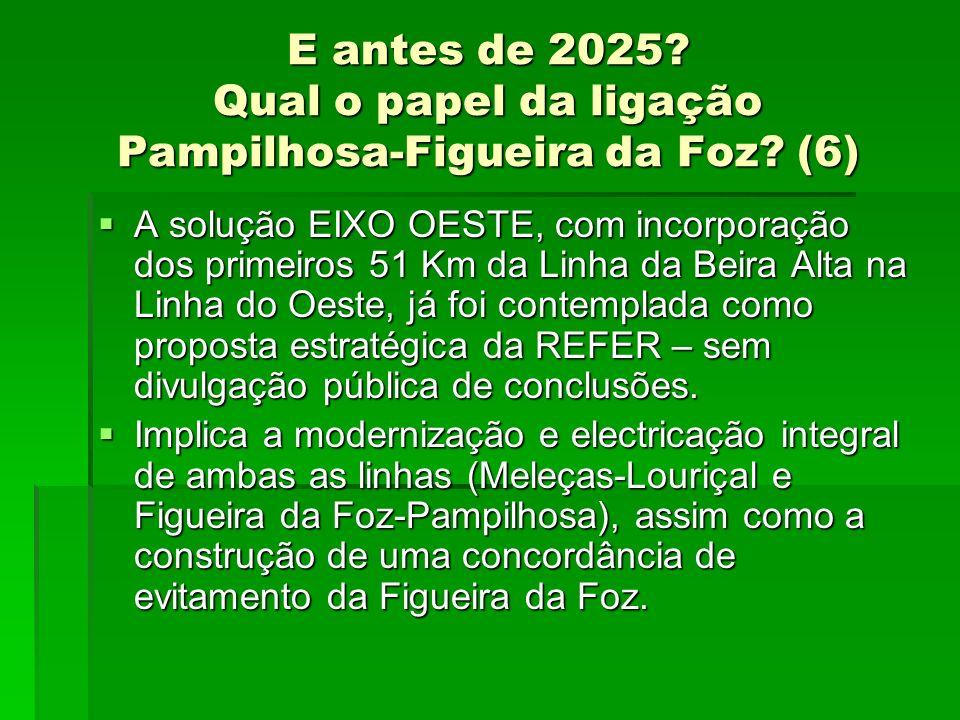 E antes de 2025? Qual o papel da ligação Pampilhosa-Figueira da Foz? (6) A solução EIXO OESTE, com incorporação dos primeiros 51 Km da Linha da Beira
