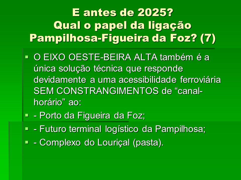 E antes de 2025? Qual o papel da ligação Pampilhosa-Figueira da Foz? (7) O EIXO OESTE-BEIRA ALTA também é a única solução técnica que responde devidam