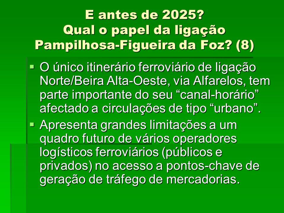 E antes de 2025? Qual o papel da ligação Pampilhosa-Figueira da Foz? (8) O único itinerário ferroviário de ligação Norte/Beira Alta-Oeste, via Alfarel
