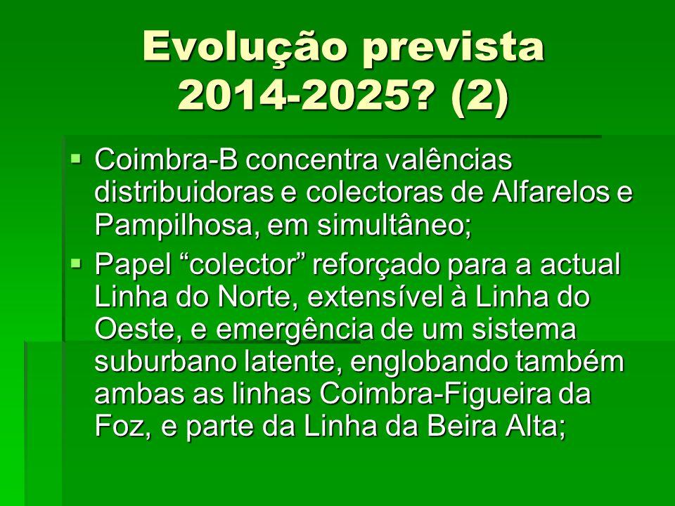 Evolução prevista 2014-2025? (2) Coimbra-B concentra valências distribuidoras e colectoras de Alfarelos e Pampilhosa, em simultâneo; Coimbra-B concent