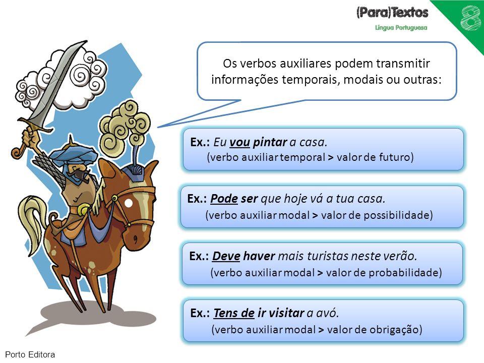 Porto Editora Os verbos auxiliares podem transmitir informações temporais, modais ou outras: Ex.: Eu vou pintar a casa. (verbo auxiliar temporal > val