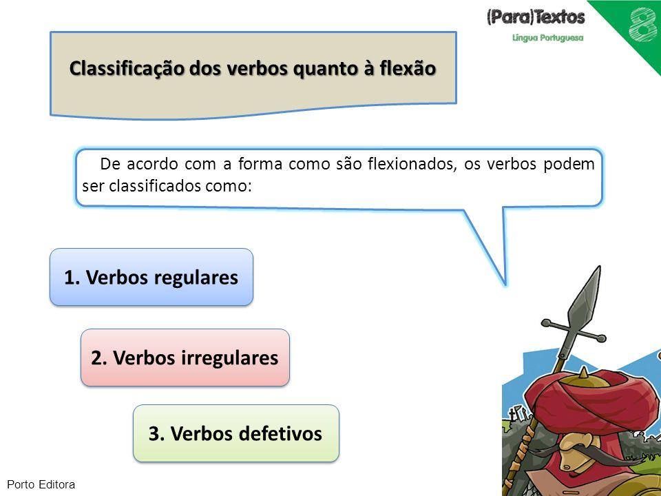 Classificação dos verbos quanto à flexão 1. Verbos regulares 2. Verbos irregulares 3. Verbos defetivos De acordo com a forma como são flexionados, os