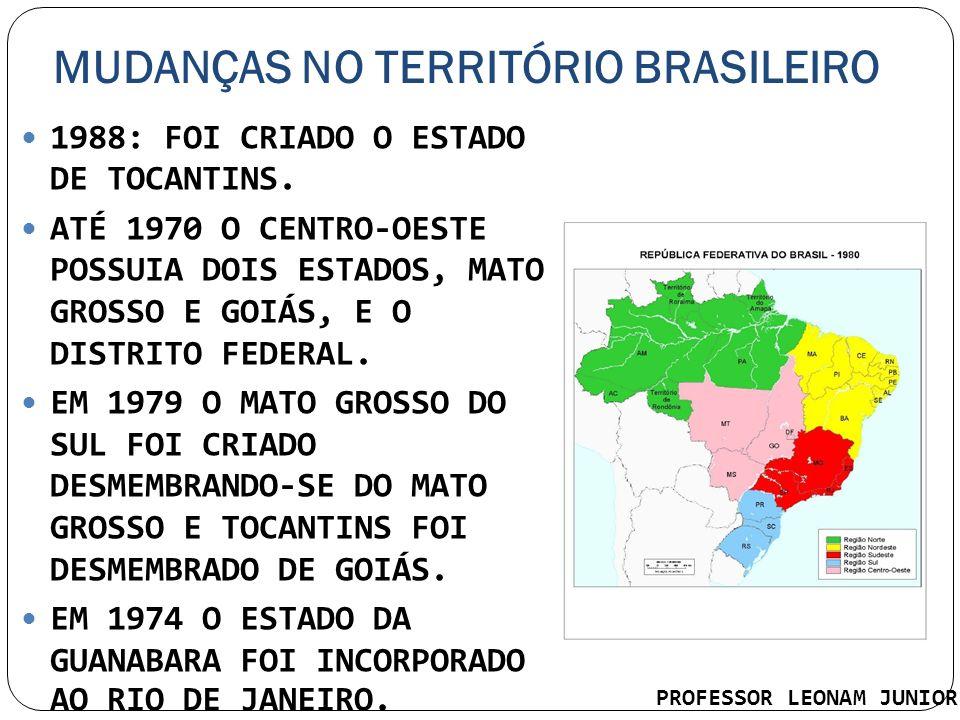 MUDANÇAS NO TERRITÓRIO BRASILEIRO 1988: FOI CRIADO O ESTADO DE TOCANTINS. ATÉ 1970 O CENTRO-OESTE POSSUIA DOIS ESTADOS, MATO GROSSO E GOIÁS, E O DISTR